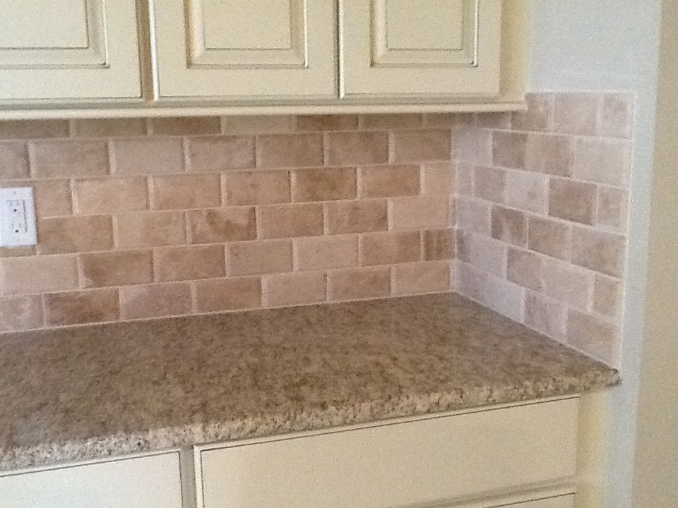Beveled Edge Travertine Backsplash Kaiser Flooring